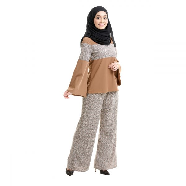 Maryam Check Blouse Tawny Brown Side