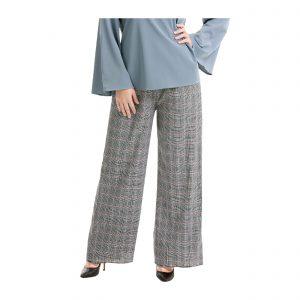 Maryam Check Palazzo Pants Grey