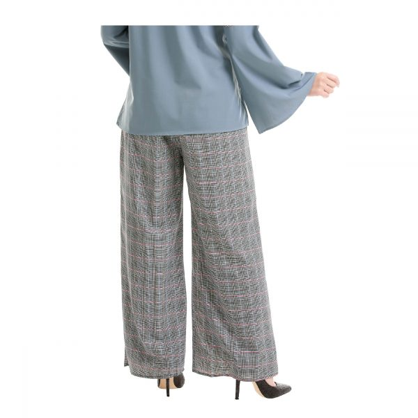 Maryam Check Palazzo Pants Grey Back