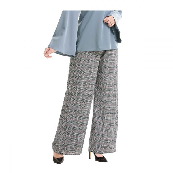 Maryam Check Palazzo Pants Grey Side