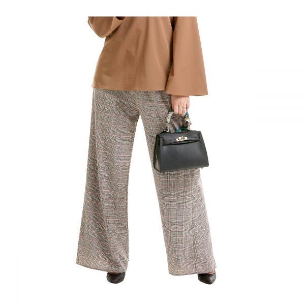 Maryam Check Palazzo Pants Light Brown