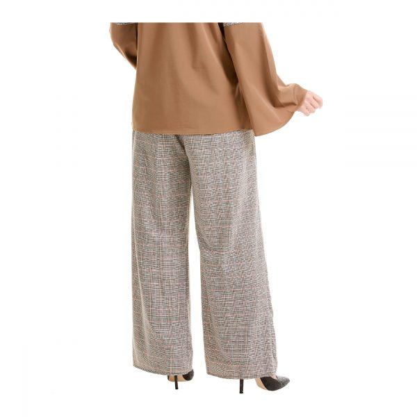 Maryam Check Palazzo Pants Light Brown Back