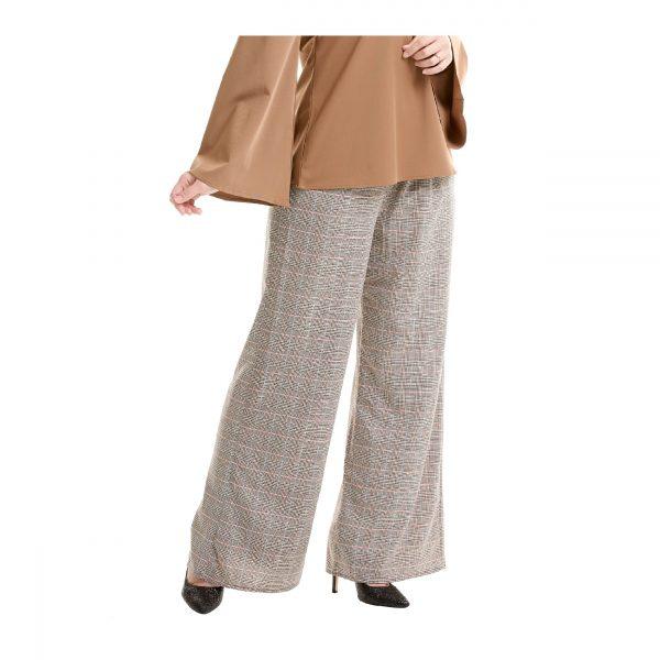 Maryam Check Palazzo Pants Light Brown Side