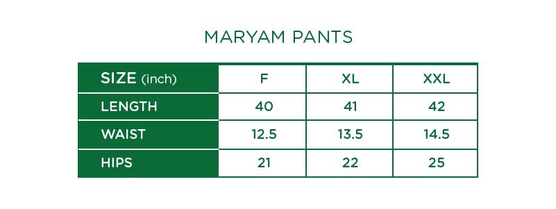 Maryam Check Palazzo Pants Size Chart