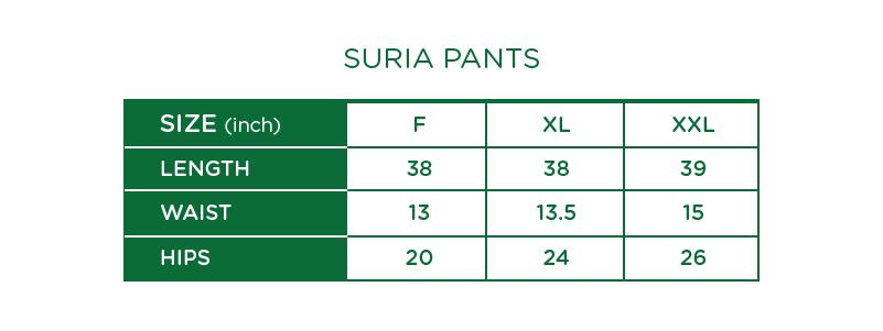 Suria Palazzo Pants Size Chart