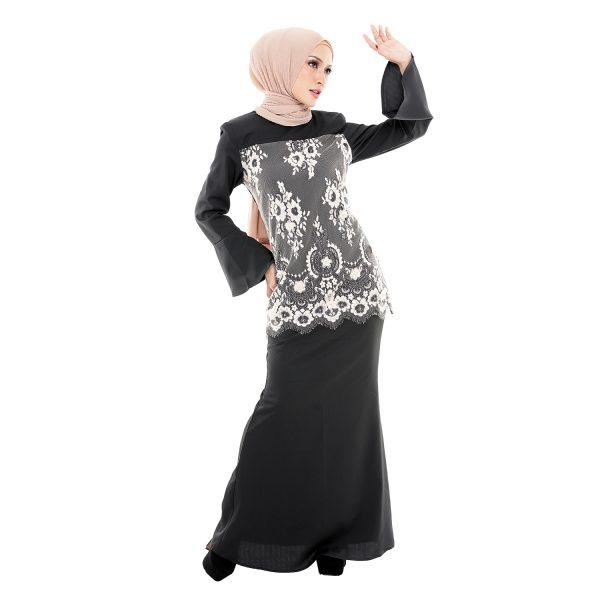 Irdina Kurung Black Creamy (1)