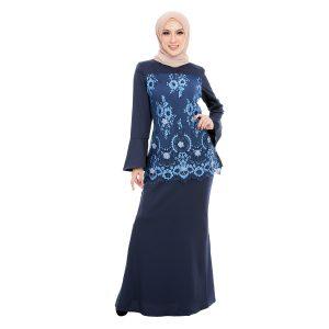 Irdina Kurung Blue Blush Front