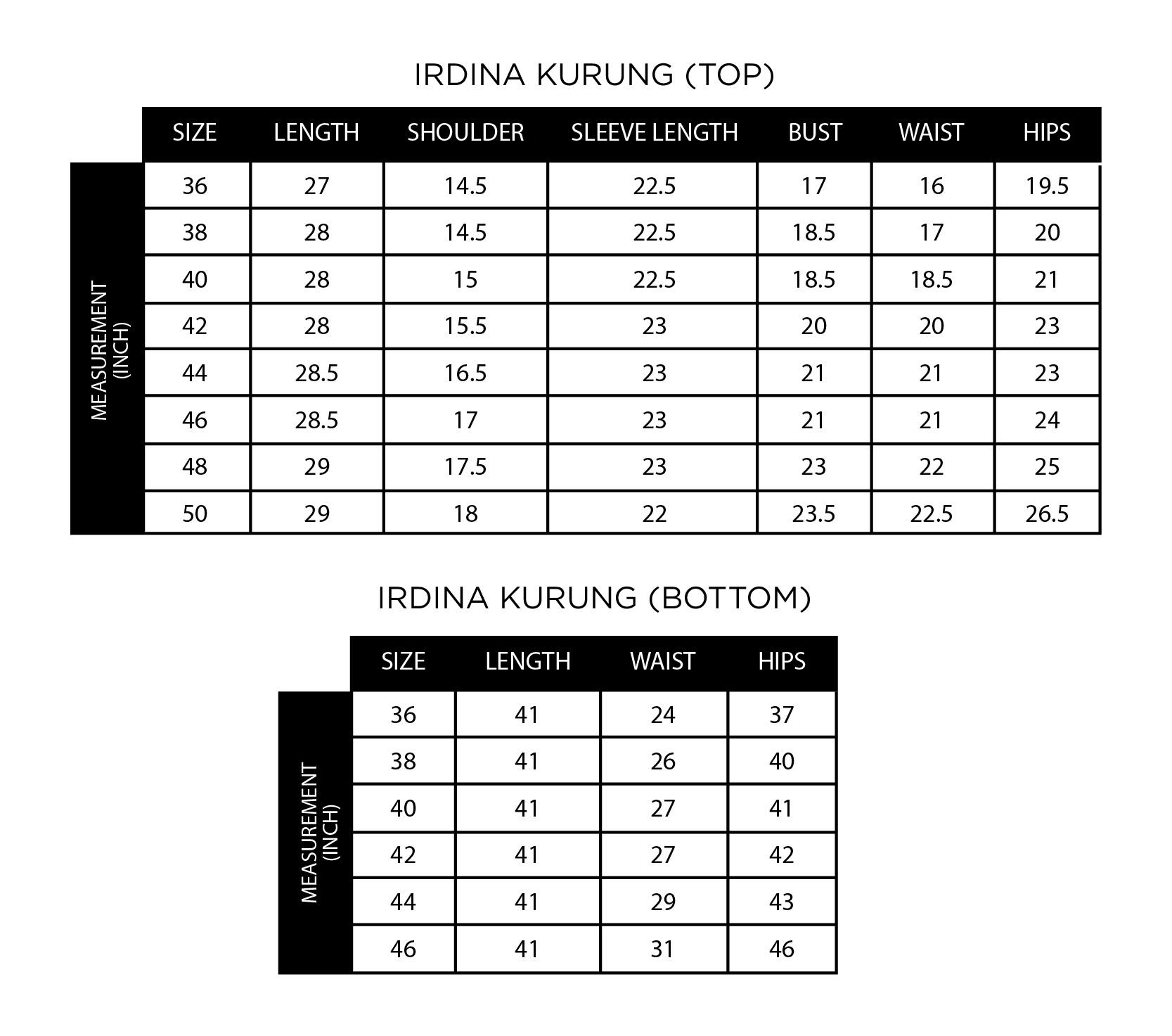 Irdina Kurung Size Chart