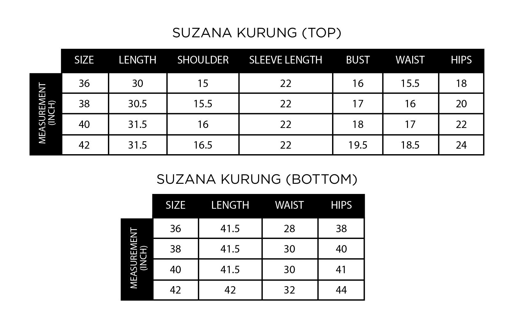 Suzana Kurung Size Chart