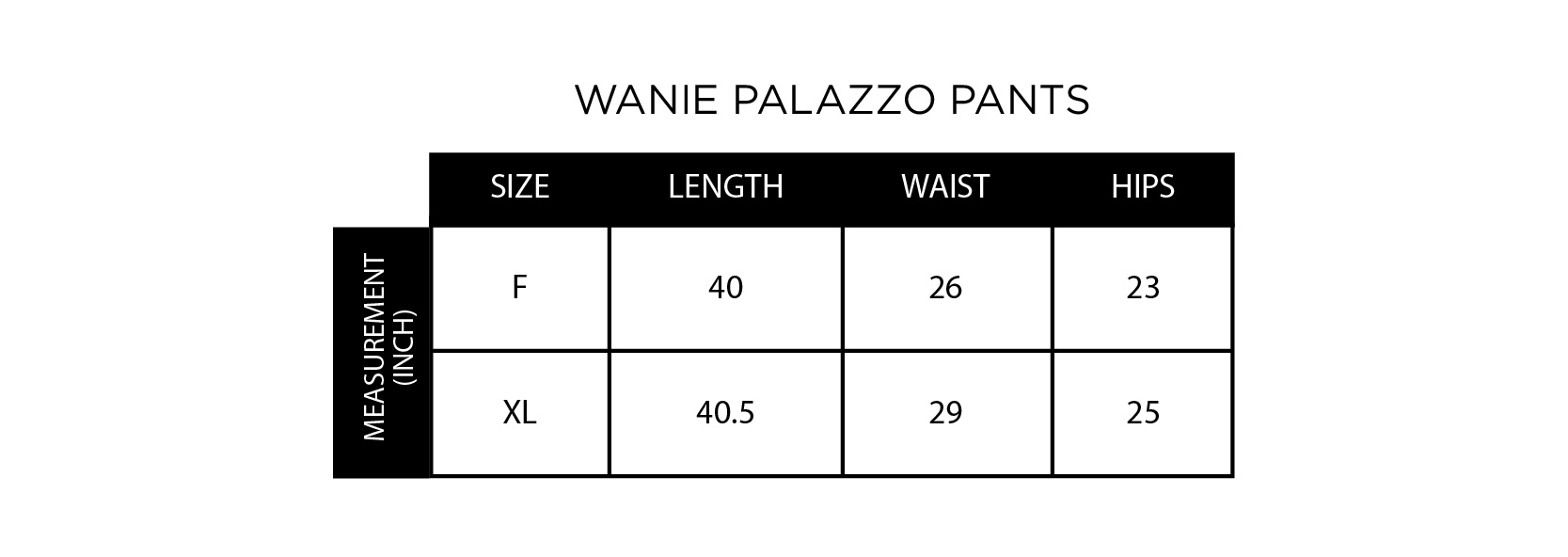 Wanie Palazzo Size Chart