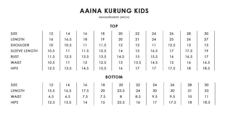 Aaina Kids Size Chart