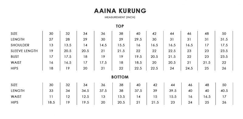 Aaina Kurung Size Chart