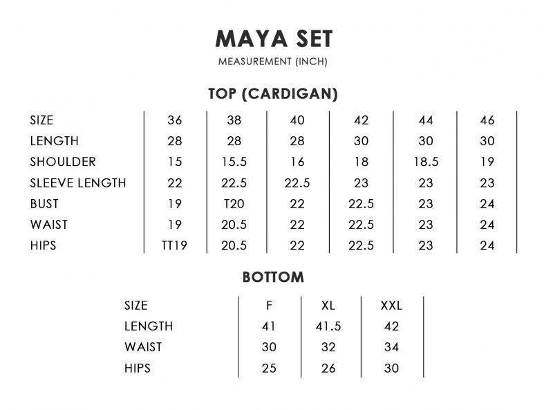 Maya Size Chart