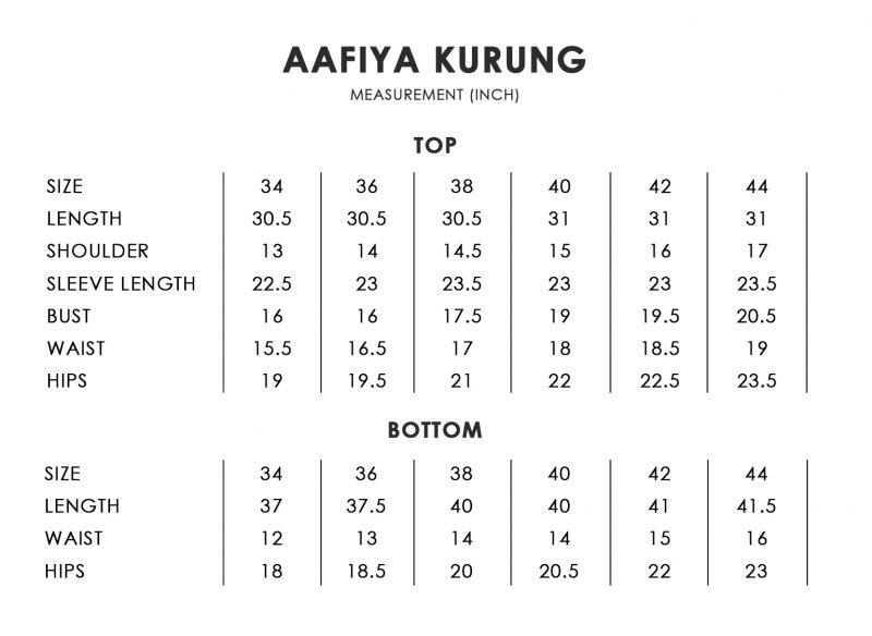 Aafiya Size Chart