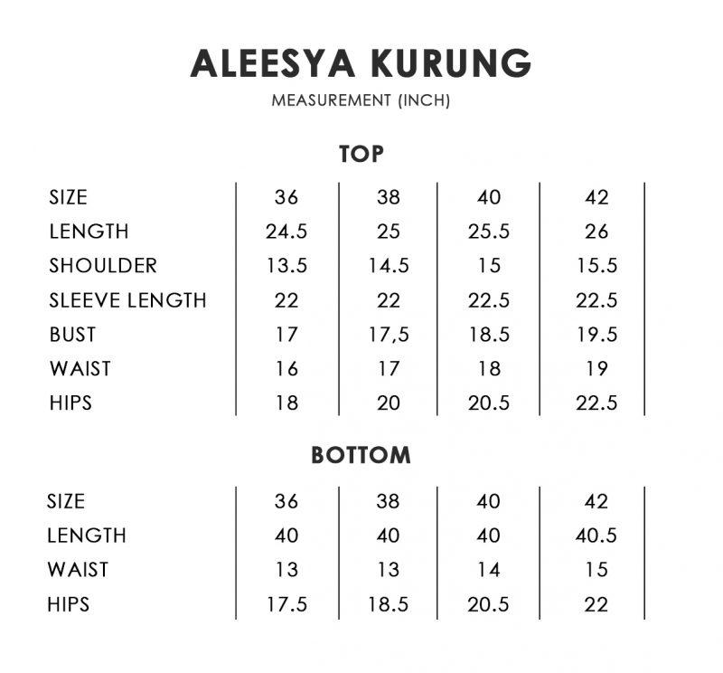 Aleesya Size Chart