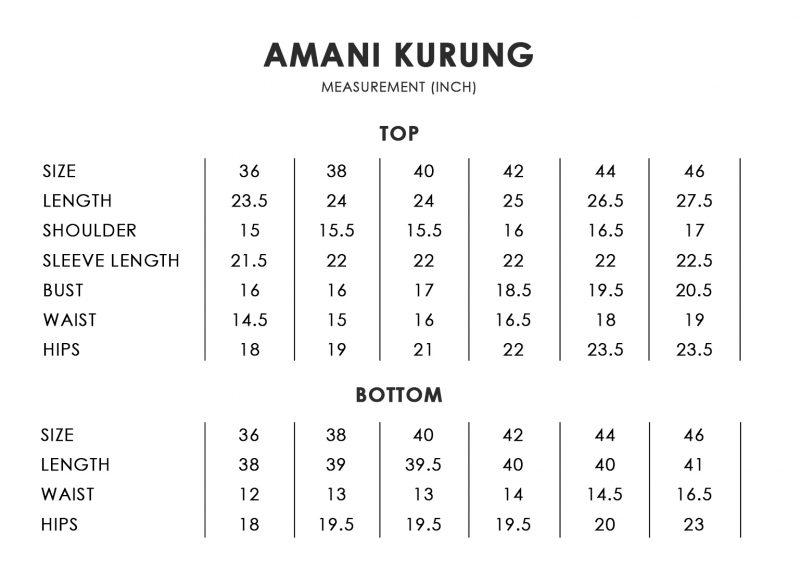 Amani Size Chart