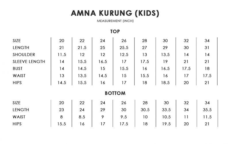 Amna Kurung Kids Size Chart