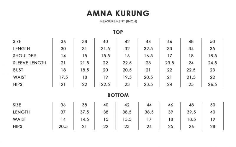 Amna Kurung Size Chart