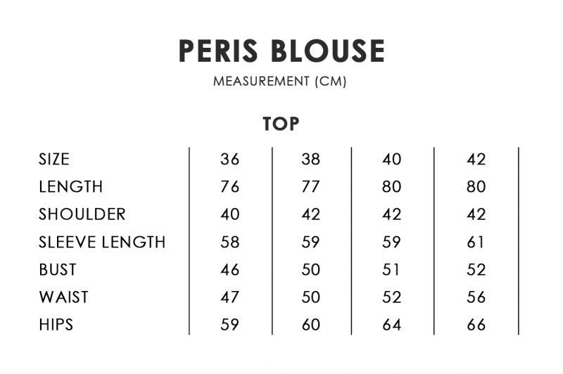 Peris Blouse Size Chart