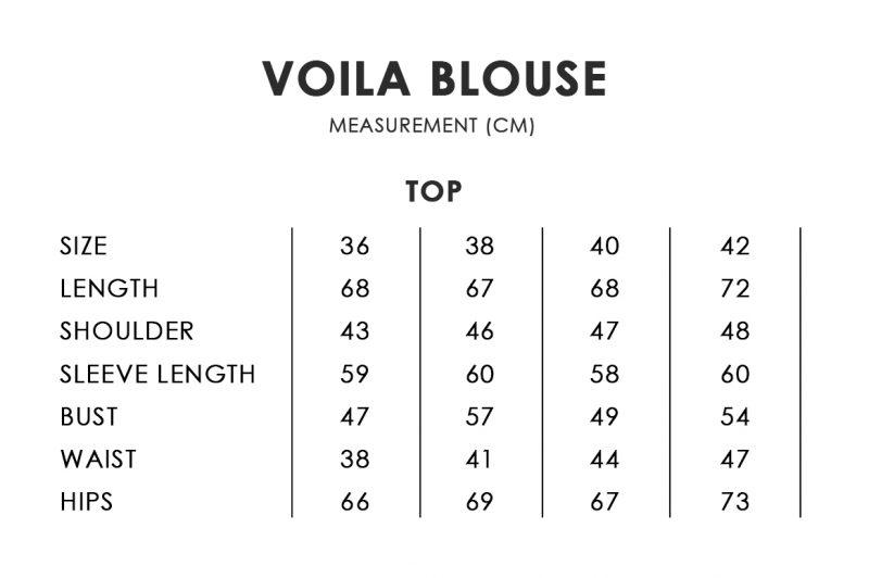 Voila Blouse Size Chart