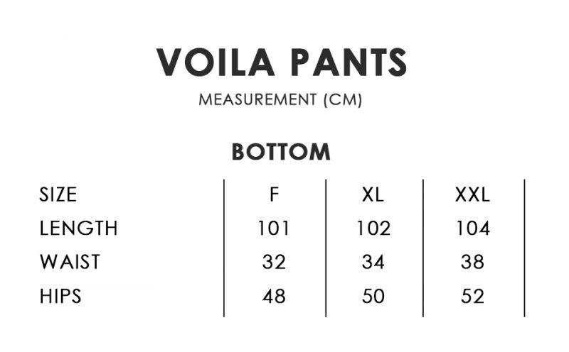 Voila Pants Size Chart