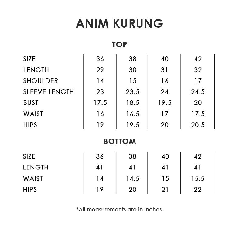 Anim Kurung Size Chart1
