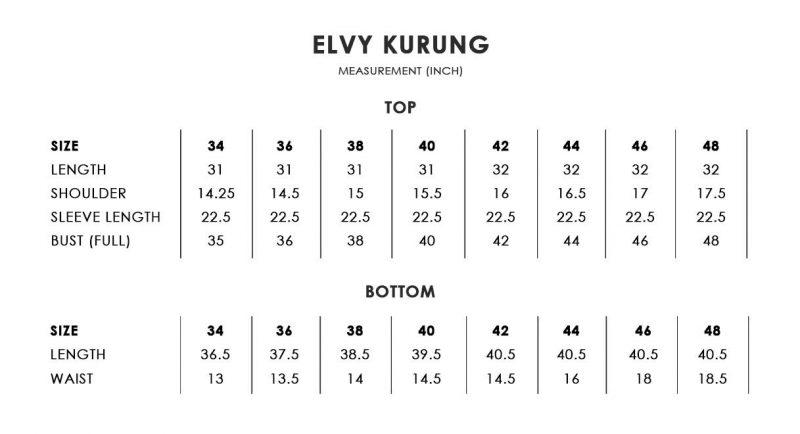 Elvy Kurung Size Chart