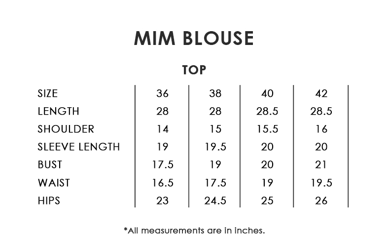 Mim Blouse Size Chart