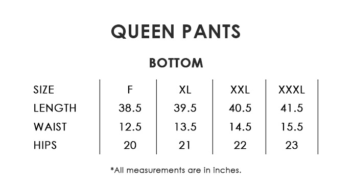 Queen Pants Size Chart