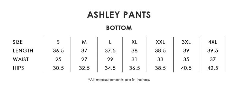 Ashley Pants Size Chart