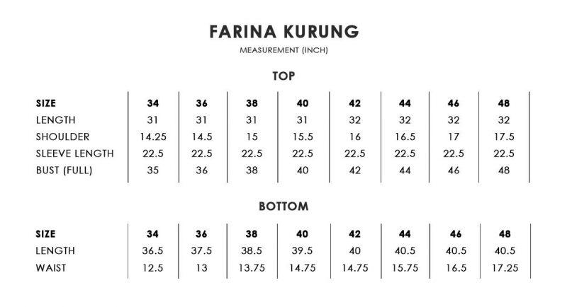 Farina Kurung Size Chart