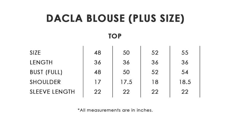 Dacla Blouse Plus Size Chart