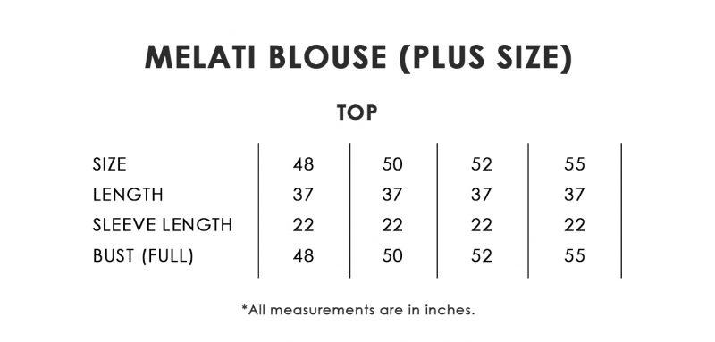 Melati Blouse Plus Size Chart