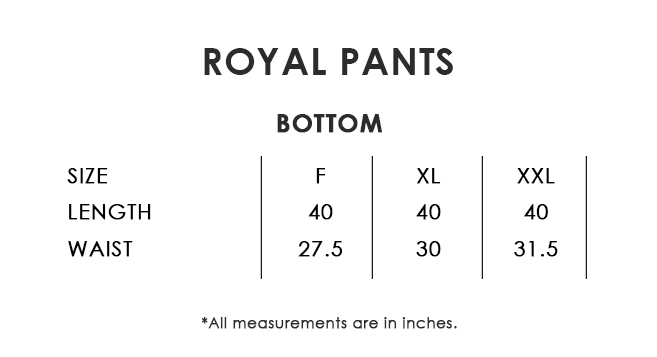 Royal Pants Size Chart
