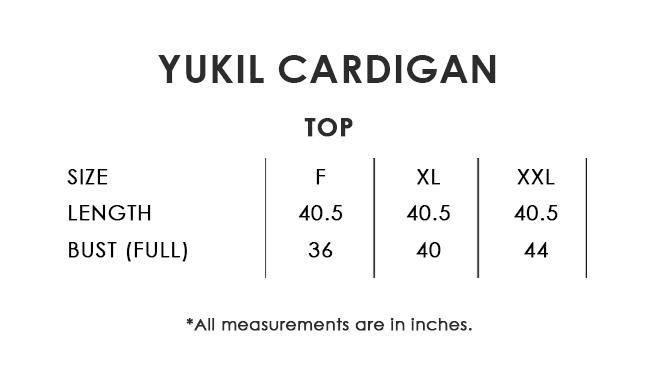 Yukil Cardigan Size Chart