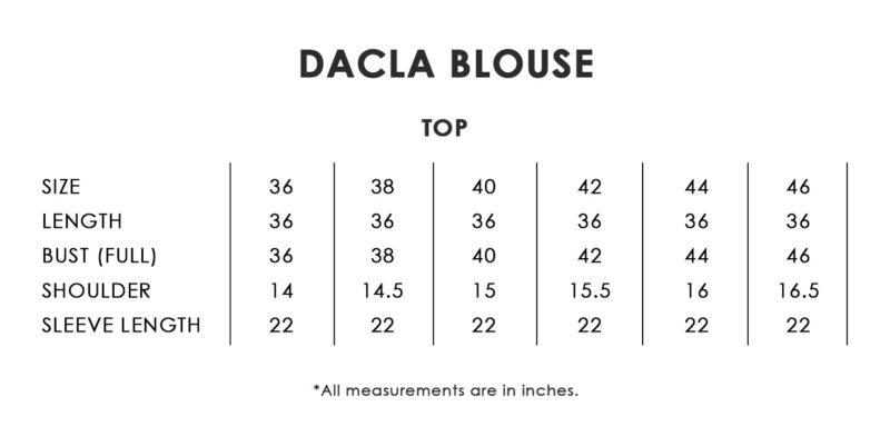 Dacla Blouse Size Chart