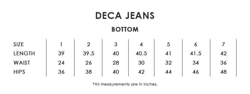 Deca Jeans Size Chart
