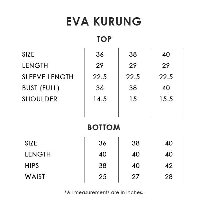 Eva Kurung Size Chart
