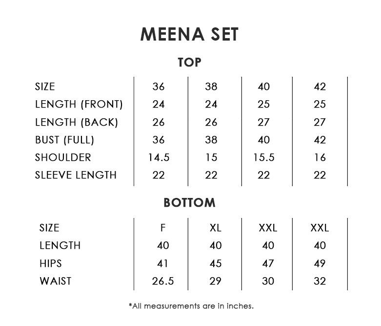 Meena Set Size Chart