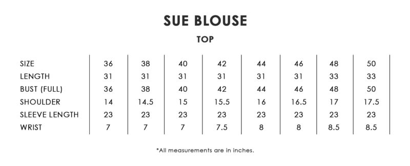 Sue Blouse Size Chart