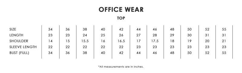 Office Wear Size Chart